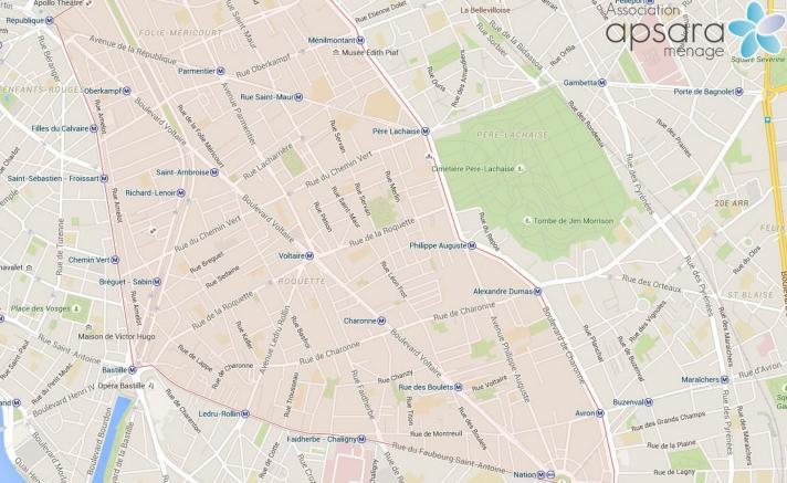 Ménage et repassage 11ème arrondissement de Paris - 75011