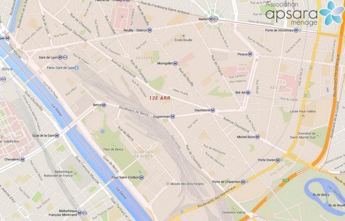Ménage et repassage 12ème arrondissement de Paris - 75012