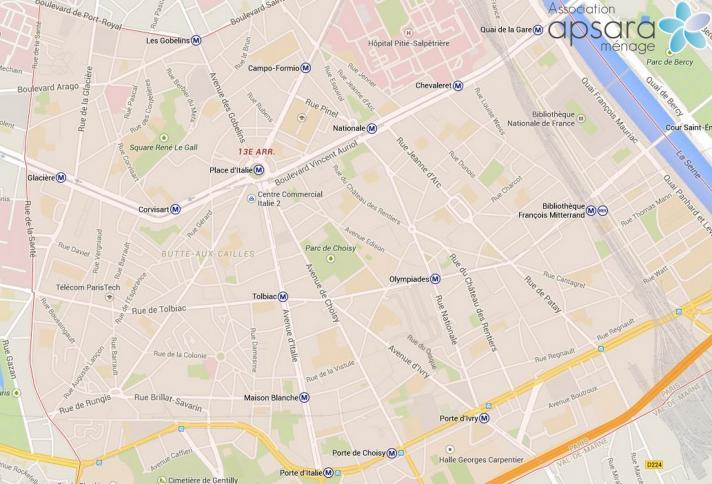 Ménage et repassage 13ème arrondissement de Paris - 75013