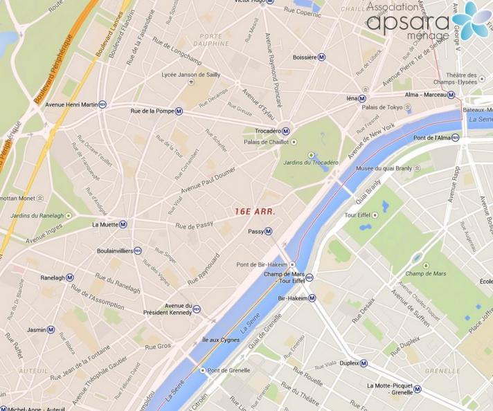 Ménage et repassage 16ème arrondissement de Paris - 75016