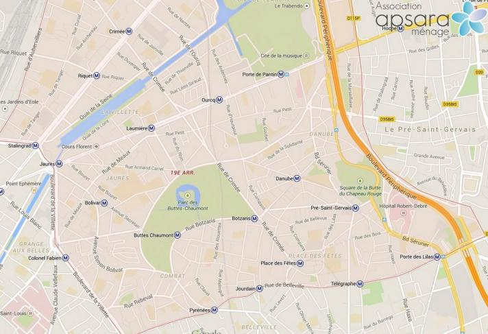Ménage et repassage 19ème arrondissement de Paris - 75019