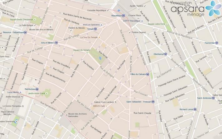 Ménage et repassage 3ème arrondissement de Paris - 75003