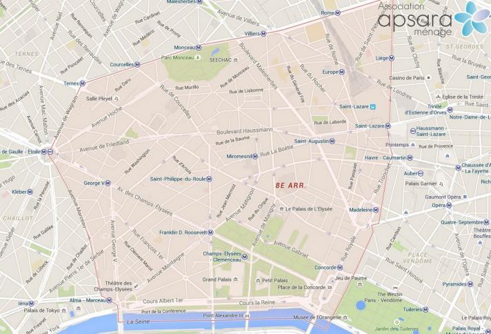 Ménage et repassage 8ème arrondissement de Paris - 75008