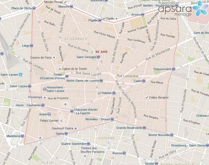 Ménage et repassage 9ème arrondissement de Paris - 75009